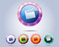 向量电影图标和范围框架 库存照片