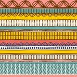 向量种族无缝的模式 手拉的部族镶边装饰品 时尚印刷品的,背景设计观念 免版税库存照片
