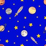 向量空间无缝的样式,五颜六色的背景模板,宇宙冒险 皇族释放例证