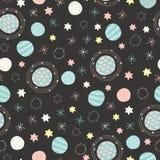 向量空间行星和星天空无缝的重复样式背景 向量例证