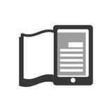 向量红色e -book象征 读和学会网上设计 背景装饰图象风格化漩涡向量挥动 免版税库存图片