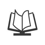 向量红色e -book象征 读和学会网上设计 背景装饰图象风格化漩涡向量挥动 免版税库存照片