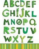 向量绿色花卉字母表 免版税库存图片