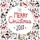 向量背景 快活圣诞节的例证 另外的卡片形式节假日 新年` s伊芙2017年 免版税库存图片