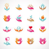 向量设置了与爱和关心的符号 库存图片