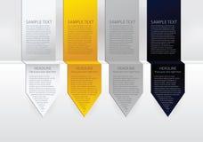 向量豪华箭头标签。 纸张,金,银色和黑色天鹅绒 免版税库存照片