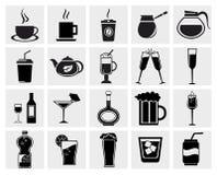 向量黑色饮料&被设置的饮料图标 免版税库存照片