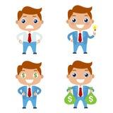 向量 动画片套逗人喜爱的商人或经理字符用与金钱的不同的姿势 平的例证 库存照片