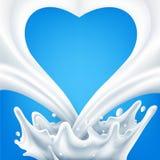 向量 在蓝色背景的牛奶店飞溅 库存例证