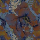 向量 幻想花-装饰构成 与长的瓣的花 墙纸 仿造无缝 库存例证