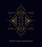 向量 抽象神秘的标志 金子几何形状 图库摄影