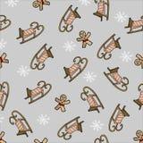 向量 新年的无缝的样式 圣诞老人项目爬犁在灰色背景的 库存例证