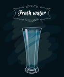 向量 10 eps 一杯新鲜的清楚的水 免版税库存图片