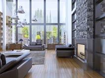 向高处发射与全景窗口内部的公寓室内设计 免版税图库摄影