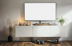 向高处发射有现代4K聪明的电视的公寓客厅 免版税库存图片