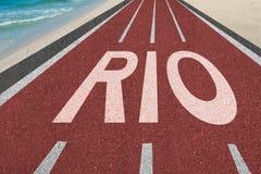 向巴西奥运会的路在里约 库存图片