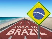 向巴西奥运会的路在里约 库存照片