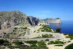 向Formentor灯塔的一个弯曲道路在山和海背景  库存照片