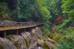 向kung fu寺庙的老美丽的路在山 免版税库存图片