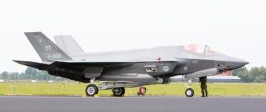 吕伐登,荷兰- 2016年6月10日:在r的荷兰F-35 免版税库存图片