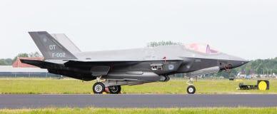 吕伐登,荷兰- 2016年6月10日:在r的荷兰F-35 免版税库存照片