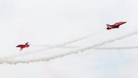 吕伐登,荷兰- 2016年6月10日:皇家空军红色箭头穿孔机 库存照片