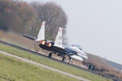 吕伐登,荷兰- 2016年4月11日:美国空军队F-15 Eagl 库存照片