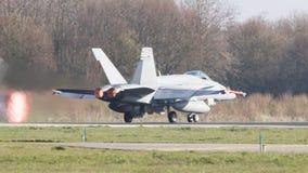 吕伐登,荷兰- 2016年4月11日:结束空军队F-18 库存图片