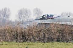 吕伐登,荷兰- 2016年4月11日:结束空军队F-18 免版税库存照片