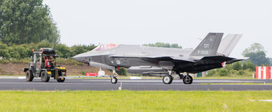 吕伐登,荷兰- 2016年6月11日:F35联接罢工战斗机 库存照片
