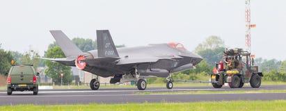 吕伐登,荷兰- 2016年6月11日:F35联接罢工战斗机 库存图片