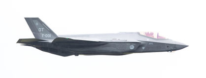 吕伐登,荷兰- 2016年6月10日:F-35闪电II f 免版税图库摄影