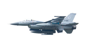 吕伐登,荷兰- 5月26 :在compa期间的F-16战斗机 免版税库存照片
