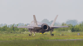 吕伐登,荷兰- 5月26 :F-35在它期间的战斗机是fi 免版税库存照片