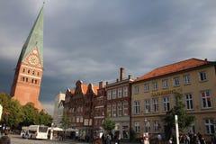 吕讷堡市中心-德国 图库摄影