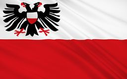 吕贝克旗子是一个城市在石勒苏益格-荷尔斯泰因州,北德国 库存例证