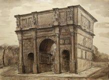 君士坦丁凯旋门的水彩绘画在罗马,意大利 免版税库存照片