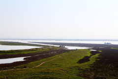 君山海岛冬天场面在洞庭湖地区 免版税库存图片