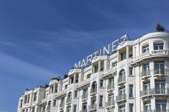 君悦酒店戛纳旅馆马丁内斯在Croisette的戛纳 免版税图库摄影
