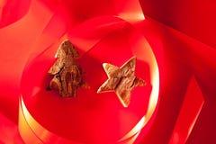 吠声圣诞节红色星形结构树 库存照片