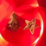 吠声圣诞节红色星形结构树 免版税图库摄影