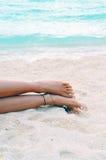 含沙赤足的海滩 库存照片
