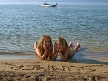含沙3海滩的子项 免版税库存照片