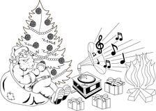 听到音乐的圣诞老人 免版税库存照片
