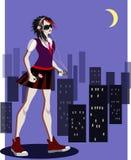 听到音乐的浪漫emo女孩在黑暗的城市 向量例证