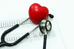 听诊器、心电图学ECG或EKG和心脏 免版税库存照片