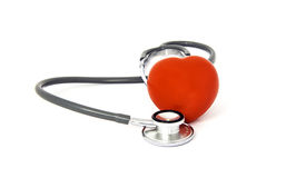 听诊器和心脏 免版税库存照片