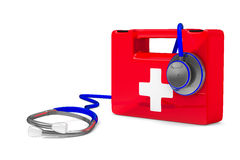 听诊器和急救在白色背景 免版税库存图片