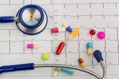 听诊器和片剂在ecg 库存照片
