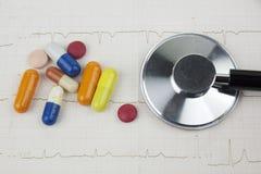 听诊器和疗程在描述心脏病学咨询的ECG板料  库存图片
